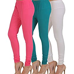M.G.R.J Women's Cotton Lycra Churidar Leggings Combo (Pack of 3 Pink, Sky-Blue, White) - Free Size