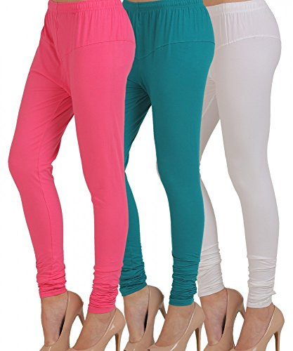 M.G.R.J Women\'s Cotton Lycra Churidar Leggings Combo (Pack of 3 Pink, Sky-Blue, White) - Free Size