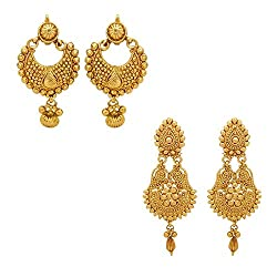 Youbella Gold Plated Combo Of 2 Dangle & Drop Earrings For Girls And Women