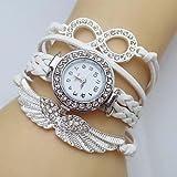 XKC-watches Relojes de Mujer, Banda de Tejido de Cuero Infinito ala Cristal del Reloj de Las Mujeres (Color : Blanco, Talla : para Mujer-Una Talla)