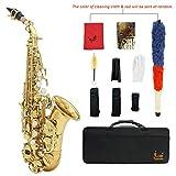 Ammoon Lade Sassofono in Si bemolle, soprano, in ottone, dipinto in oro, tasti in perla bianca, strumento a fiato con astuccio, guanti, panno per la pulizia, grasso, spazzola, oro