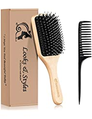 Hair Brush, Sosoon Boar Bristle Paddle Hairbrush for Long Thick Curly Wavy Dry or Damaged Hair, Reducing Hair Breakage and Frizzy No More Tangle, Giftbox & Tail Comb Portable Hair Comb Included