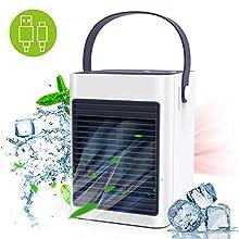 Climatiseur Mobile, TedGem Mini Climatiseur Portable, 3 en 1Mini Climatiseur USB, Humidificateur, Ventilateur de bureau, 3 Vitesses avec Poignée Pour la Maison, le Bureau, L'extérieur (Blanc)