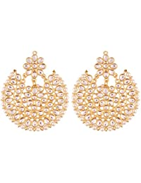 I Jewels White Gold Plated Kundan With Pearl Outline Dangle & Drop Earrings For Women Ed14W