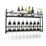 Weinregale Metall Wall-Mount Flaschen Lagerung & Glashalter Home Decor für Wohnzimmer oder Küche (Farbe : Black, größe : 80 * 12 * 62CM)