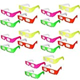 Crystalove Neon Prism Diffraction Rainbow Fireworks Glasses for Laser Show Raves (20 pairs* 1 pack)