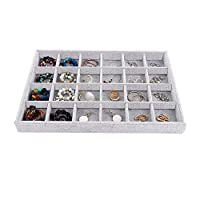 Emibele Jewelry Organizer, Necklace Ring Earring Bracelet Organizer Velvet Stackable Jewelry Showcase Display Tray for Women Girls Ladies