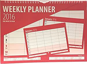 Salmon 2014 family organiser planner boldtype black and red calendar - one week to view