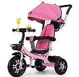 AGGKA Kinder-Dreirad Baby Fahrrad Baby Buggy Two in One 1–6 Jahre alt faltbar tragbar Babywagen Pet Toy Car, Rosa