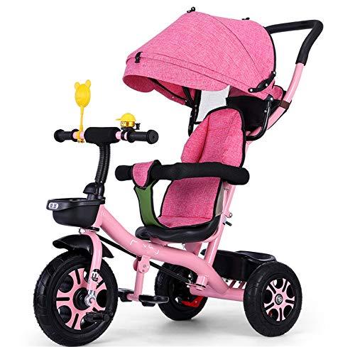 AGGKA Kinder-Dreirad Baby Fahrrad Baby Buggy Two in One 1-6 Jahre alt faltbar tragbar Babywagen Pet Toy Car, Rosa