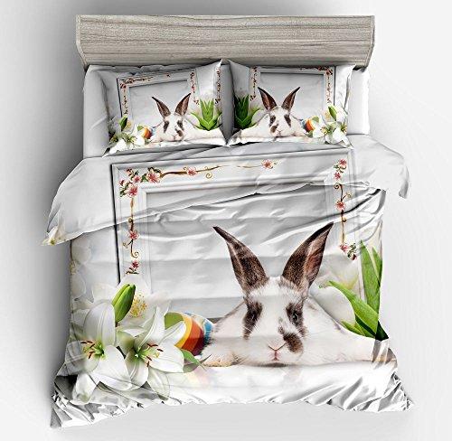 KTLRR Kaninchen Bettbezug Set Doppel-Größe, Hasen-Lily auf weiß Hintergrund Fadenzahl 400, 3Betten Sets inkl. 2kissenrollen keine Tröster, baumwolle, hase, Super King(260x230cm,3pcs)