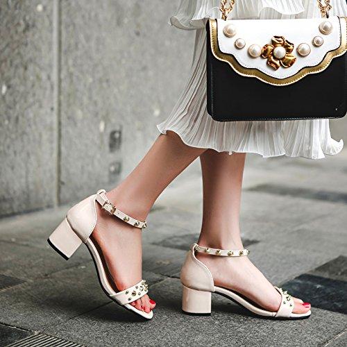 XY&GKDas Wort mit groben Sandalen mit schwarzen Frauen Sommer Sommer Square Toed Sandalen Rom Diamond, komfortabel und schön 35 apricot