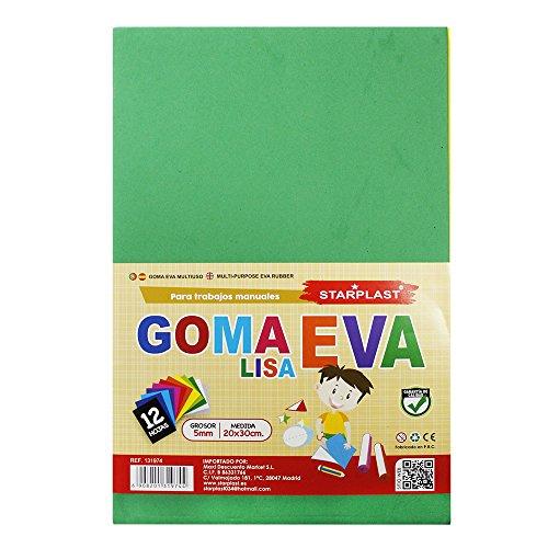 131974 - Goma eva de colores lisos, grosor de 5mm, 12 hojas, tamaño A4