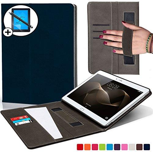 Forefront Cases Huawei MediaPad M2 10.0 Hülle Schutzhülle Tasche Bumper Folio Smart Case Cover Stand mit Handschlaufe - Extra Robust mit Rundum-Geräteschutz und intelligente Auto Schlaf / Wach Funktion inkl. Eingabestift und Displayschutz (DUNKEL BLAU)