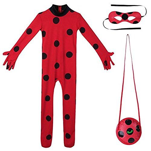 Nice sport Enfant Fille Déguisement Coccinelle Miraculeuse Combinaison à Manches Longues & Masque & Sac Bodysuit Cosplay Ladybug Costume de Carnaval 5-12 Ans (11-12 Ans, Vetement)