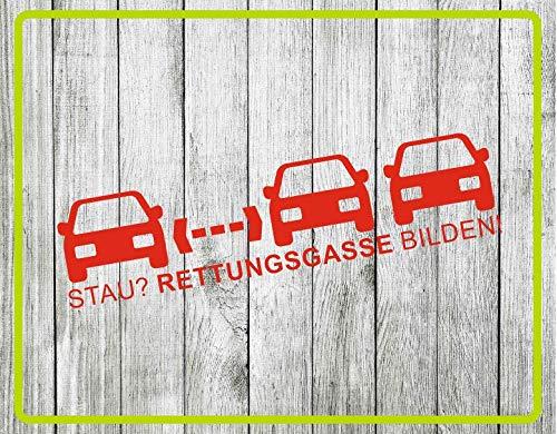 Dinger-Design Aufkleber Stau? RETTUNGSGASSE BILDEN! Feuerwehr, Rettungsdienst, Polizei, THW (Rot, 60 x 14 cm)