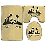 Bath Mats, 3 Piece Bathroom Rug Set 100% Panda Skidproof Flannel Contour Rugs Antibacterial Cover Mat for Men Women Kids, Bathroom Rugs, Bathroom Accessories