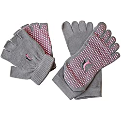 Yoga Pilates calcetines y guantes conjunto, algodón antideslizante calcetines del dedo, 90días garantía de devolución del dinero por deportes Koyto