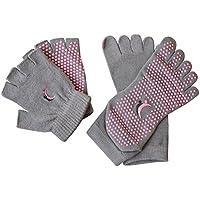Koyto deportes Yoga Pilates calcetines y guantes conjunto, algodón antideslizante calcetines del dedo