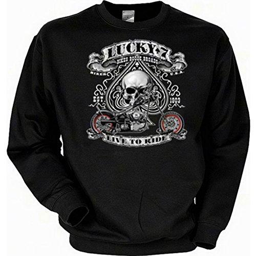 TITAGU Biker Sweatshirt Sweater mit Skull Aufdruck: Lucky 7 - Live to Ride - lässiges Totenkopf Motiv Ride Herren Pullover