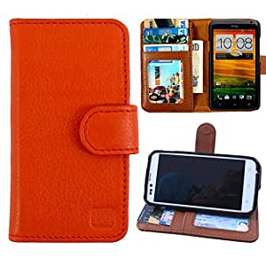 Dooda Genuine Leather Wallet Flip Case For Micromax Canvas Knight A350 (ORANGE)