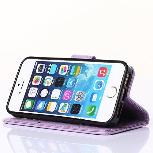 iPhone 6 Plus 6S Plus 5.5 Zoll Leder-Hülle im Bookstyle Folio, Sunroyal Kunst-Leder-Tasche Schutzhülle Case Flip Cover Etui dünn und weich mit Fach für Geldscheine und Kartenfach, Aufstellfunktion + D Helles Lila