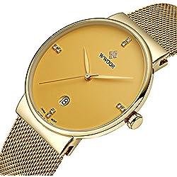 Herren-Quarzuhr, besonders flach, mit Kalenderfunktion, Edelstahl, Armband in Netzstoff-Optik, goldfarben