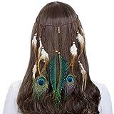 AWAYTR Hippie Boho Gland Plume Bandeau Perles Mignonne Mascarade Déguisement Casques Accessoires Cheveux Hippie (Beige)