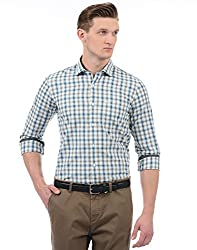 Monte Carlo Mens Checkered Regular Fit Casual Shirt (2180764255FS-2_Cream and Blue_38)