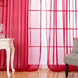 Mikolot Sitting Room Balcony Cafe Gauze Shade Curtain (Rose Red)