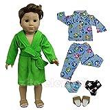ZITA ELEMENT 5 Stück Nachtwäsche Set Puppenkleidung für 18 Zoll American Girl Junge Und Andere Puppen 45-46cm Puppen Bademantel Nachthemd Schuhe Unterwäsche