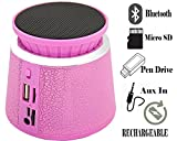 Trapezium Shaped Bluetooth speaker for Powerful BASS , Portable stereo with colourful flashlight, high-definition audio, built-in microphone With Pen drive, TF ( Micro SD ), AUX In , Rechargeable Built in Battery-MM-BT-025-Cracking Pink