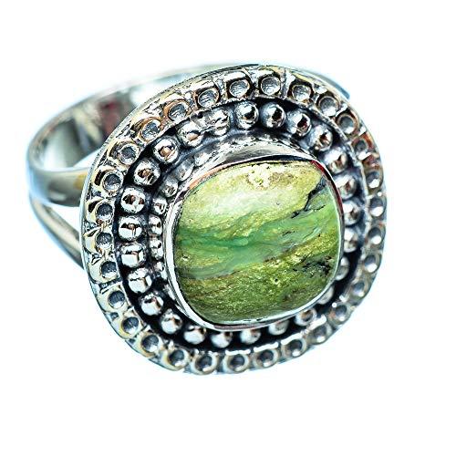 African Green Opal, Afrikanischer Grüner Opal 925 Sterling Silber Ring 7 (Ana Silver Co Ringe Grün)