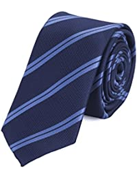 Schmale Krawatte von Fabio Farini Blau gestreift