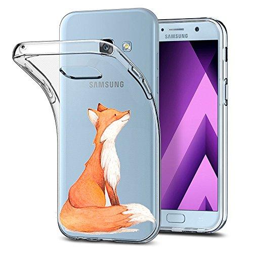Alsoar ersatz für Galaxy A3 2017 Hülle,[UltraDünn] Weiche Transparent Flex Slim TPU Silikon Schutzhülle Clear stoßfest Case Rosa Schwein Kratzfest Cover für Samsung A3 2017 Handyhülle (Gelber Fuchs)