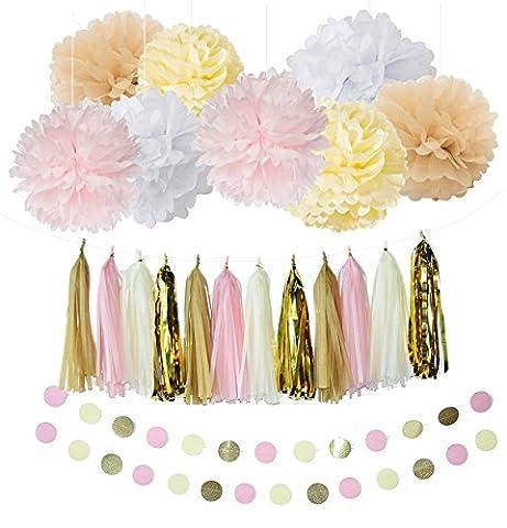 Furuix Kit de décoration de fête 20pièces avec guirlande à pompons et fleurs en papier de soie Blanc/crème/rose/brun clair