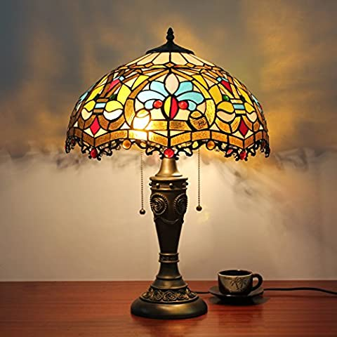 16 Inch European Vintage Pastoral Baroque Stained Glass Table Lamp Bedroom Lamp Bedside Lamp
