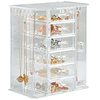 Beautify Acrylic Jewellery Organiser with 3 Drawers & Soft Velvet Dividers - Clear