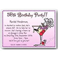 30th 40th 50th 60th 65th 70th 80th 90th 100th female with envelopes J344 10 Personalised Floral Birthday Party Invitations 18th 21st