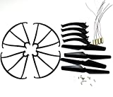 Night Lions Tech(tm) replacement spare parts for syma x5sw x5sc x5s rc quadopter drone Propeller landing skids,4 motors,motors gears, Protective cover and screws(Black color)