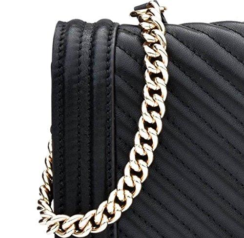 GSHGA Neue Echtes Leder V-förmigen Kette Tasche Damen Umhängetasche Handtaschen Totes Cross-Body Taschen,White Black