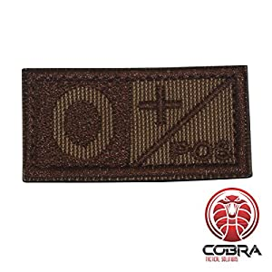 Patch Militaire Écusson Brodé avec sa lanière Hook & Loop pour airsoft/paintball Condor sang Patch Khaki/Marron O+ pour Sac à Dos Tactique Vêtements,...