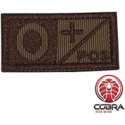 Cobra Tactical Solutions Parche bordado militar tipo sangre O POS marrón para airsoft/paintball para mochila táctica, ropa.
