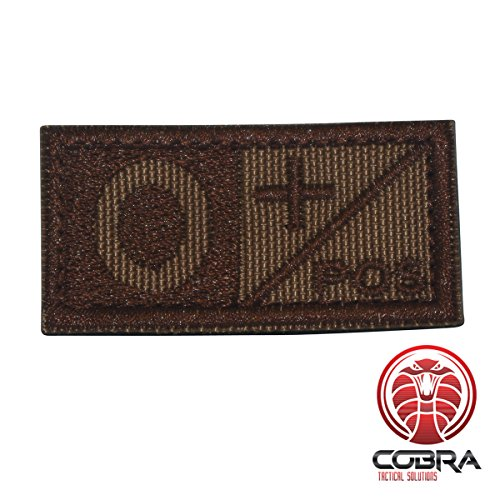 Cobra Tactical Solutions Patch ricamo military tipo sangue O POS marrone per softair/paintball per zaino tattico, abbigliamento.