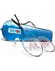 VicFun - Juego de accesorios para bádminton (2 raquetas, bolsa y 3 pelotas)