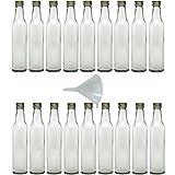 Viva-Haushaltswaren - 18 Glasflaschen mit Schraubverschluss 250 ml zum Selbstbefüllen inkl. einem weißem Einfülltrichter Ø 9 cm
