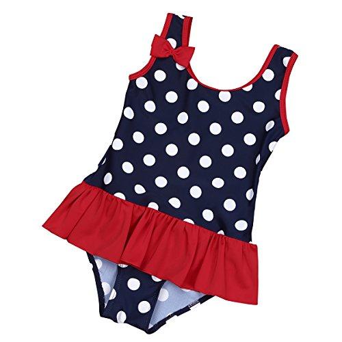 iEFiEL Baby - Mädchen Badeanzug Einteiler Bikini UV-Schutz Bademoden All-Over gepunktet 62 68 74 80 86 92 98 Marineblau 68