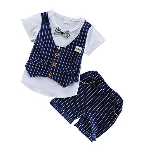 Sommer Baby Boy Anzug Gentleman Kleidung Set Weste kurze T-Shirt und Plaid kurze Hose formale Party Taufe Hochzeit Smoking für 3M-3Y Kleinkind Kleinkind (Stück 3 Plaid-weste)