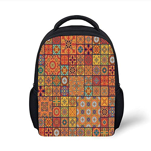 Kids School Backpack Moroccan,Collection of Moroccan Style Geometric Patterns Floral Ornamental Patchwork Print,Orange Red Plain Bookbag Travel Daypack Baby Gap Patchwork