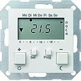 Gira 237027 System 55 Régulateur de température avec capteur avec système de retardateur Blanc mat 230 V